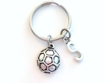 Soccer Ball Keychain, Player Key Chain, Gift for Teenager Teenage Teen Boy Girl Football Team Birthday Present Ball Sport Athlete Initial