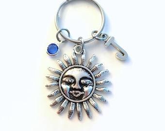 Sun Key Chain, Sunshine Keychain, Silver Sun Charm Keyring Sunshine Jewelry Personalized Initial Birthstone birthday present Christmas Gift