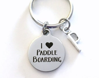 I love Paddle Boarding KeyChain Paddleboarding Keyring Key chain Personalized Initial letter birthday present Christmas Gift Planner charm