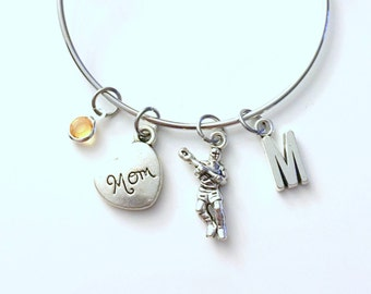 Gift for Lacrosse Mom Jewelry Bracelet Racket Charm Bangle Silver initial Gift for Mother Team Initial birthstone Present Raquet Field Sport