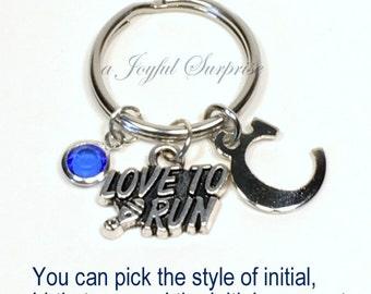 Runner Key Chain, Marathon Runner Jewelry, Love to Run Keyring, Track KeyChain, Pewter Gift for Athlete Gift, Custom, initial birthstone