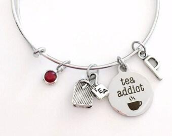 Tea Addict Jewelry, Tea Bag Charm Bracelet, Gift for Best Friend Bangle initial Birthstone Present Women Woman Canadian Seller Shop Engraved