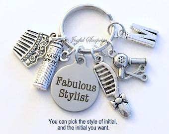 Fabulous Stylist Keychain, Hairdresser's Key Chain, Stylist Keyring Gift for Hair Salon Birthday Present Hairspray Hairdryer Comb Christmas