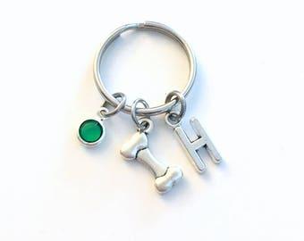 Dog Bone Keychain, Puppy Keyring Animal Key chain Silver Jewelry charm Personalized Initial Birthstone birthday present Doggie Him Gift Her