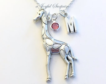 Giraffe Necklace, Giraffe Jewelry, Gift for Safari African Animal Silver charm Initial Birthstone Birthday present Large Long Chain pewter