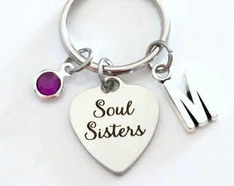 Soul Sisters KeyChain, Sister Key Chain, Gift for Sister in Law Step Sister Present Keyring Birthstone Initial Personalized Best Friend BFF