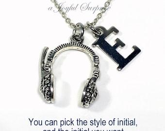 Headphones Necklace, Head Phones Jewelry, Silver Headset Music Gift for Sound Tech, Best Friend BFF Hip Hop Rapper Rap Teenage Boy teen girl