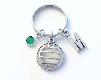 Volleyball Keychain, Gift for Volley Ball Key Chain Teenager Teenage Teen Boy Girl Initial Team Birthday Present Sport Athlete Jewelry women