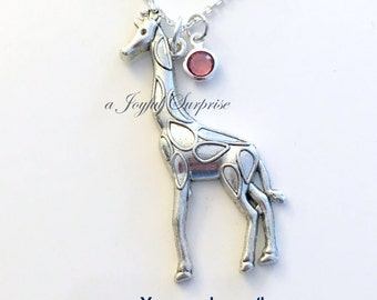 Giraffe Jewelry, Giraffe Charm Necklace, Gift for Safari African Animal Silver Birthstone Birthday present Large Long Chain pewter pendant