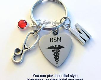 BSN KeyChain Gift for BSN Nurse Key Chain Nursing Keyring Personalized Initial Birthstone Birthday Christmas present purse charm planner