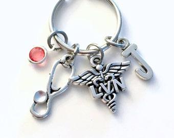 Personalized LVN Key Chain, Gift for Licensed Vocational Nurse KeyChain Nursing Keyring Initial Birthstone Birthday present Stethoscope Her