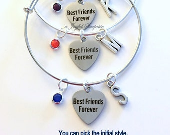 Best Friends Forever Set of 2 3 4 5 6 Jewelry Charm Bracelet Bangle Silver BFF Bridal Party initial Matching Birthday Gift Christmas Present