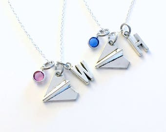 Personalized Paper Airplane Necklace set of 2, Paper Plane Jewelry, Origami Gift for BFF with initial birthstone Moving away present girl