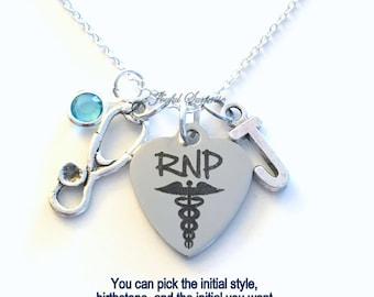 RNP Necklace Jewelry, Registered Nurse Practitioner Gift Nursing Stethoscope Charm Custom Initial Birthstone birthday Christmas present RPN
