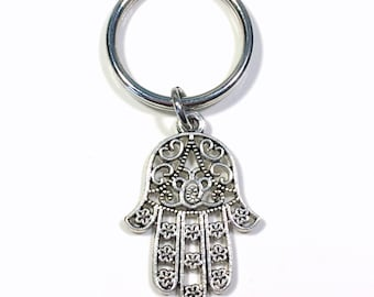 Fatima Hand Keychain, Protection Keyring, Silver Hamsa hand Protect Key chain, Gift for New Driver Present purse charm planner symbol faith