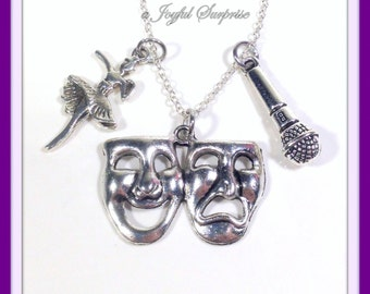 Triple Threat Necklace, Sing Act Dance Necklace Dancer Actress Actor Singer Charm, Theater Jewelry, Performer Gift, Silver Drama Mask 225