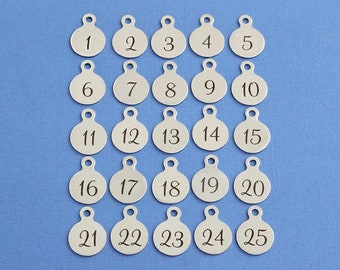"""Add a Number Charm / 1/2"""" x 3/4"""" Stainless Steel Numeral / Jersey # / 1 2 3 4 5 6 7 8 9 10 11 12 13 14 15 16 17 18 19 20 21 22 23 24 25"""