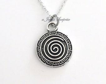 Swirl Jewelry Spiral Necklace Intuition Circle Silver Pinwheel charm birthday Christmas Present pewter pendant custom man men boy girl woman