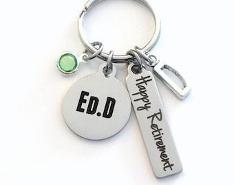 Ed.D Keychain, Gift for Educator Retirement Key Chain, Coworker Present, Mom, Dad, Keyring Jewelry Co Worker Boss Happy EDD Teacher
