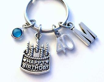 Gift for 40th Birthday Present KeyChain, Happy Birthday Cake Keyring, 21st Key chain Jewelry Initial Birthstone letter 50 60 70 80 18 16 30