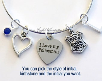 Police Officer's Wife Jewelry Charm Bracelet, I love my Policeman Bangle for Chief Shield initial Birthstone Birthday Gift Christmas Present
