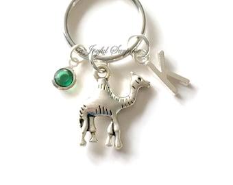 Camel KeyChain, Camel Back Keyring Desert Animal Key Chain, Personalized Initial Birthstone birthday present Christmas Gift Fighting Camels