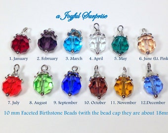 Add on a 10mm Faceted Birthstone Dangle Charm to any listing, birthstone faceted crystal, birthstone dangle