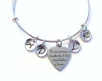Gift for Grandmother Jewelry, The love between a grandmother and her Grandchildren is forever Charm Bracelet from 2 3 4 5 6 7 8 9 10 letters