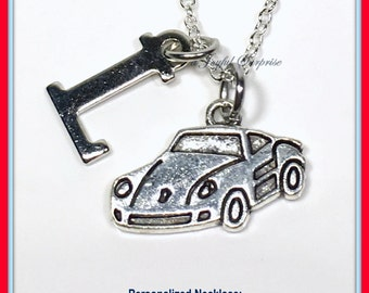 Car Necklace, Sports Car Jewelry, Race Gift Nascar charm, Father's Day Christmas present initial Letter Custom Personalized Boy Man Men 143