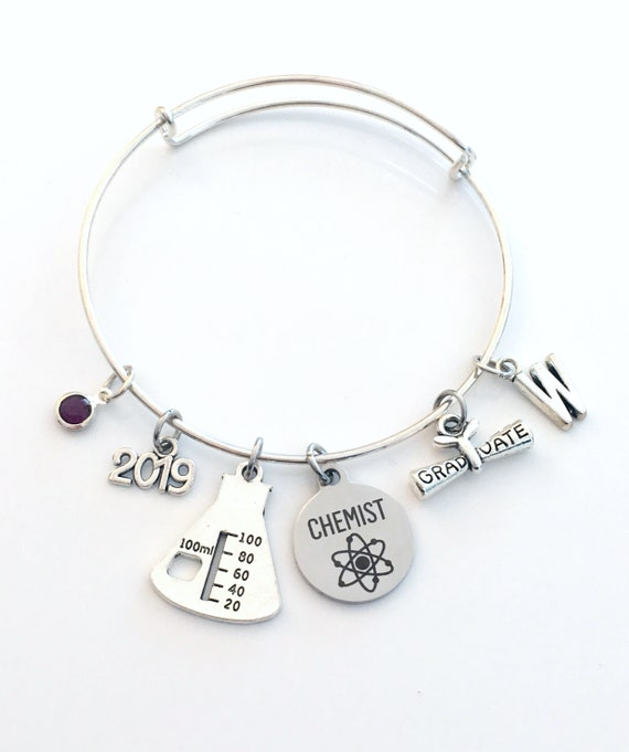 Personalized Graduation Bangle Charm Bracelet for Her Class of 2019 Graduation Gift