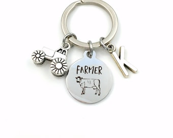 Gift for Farmer Keychain, Farm Owner's Key Chain, Tractor Keyring, Cattle Farm Girl or Boy Present, Stable Men her him Country boy man Cow