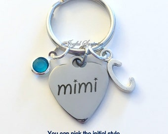 Mimi KeyChain Gift for Grandmother Mimmi Keyring Key chain Personalize Initial Birthstone birthday Christmas present purse charm planner