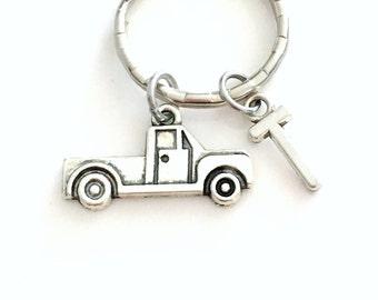 Truck Key Chain, Vehicle Keychain, Silver Trucker Keyring Red Neck Christmas Present Birthday Boy Teen Boyfriend with Initial letter him her