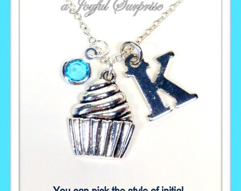 Personalized Cupcake Necklace, Cup cake and Icing Necklace, Birthday Present Silver Charm Jewelry Gift with initial birthstone custom 213