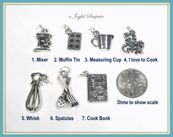 Baking Charm, Cooking Charms, Your choice Mixer, Muffin Tin, Measuring Cup, I love to Cook, Whisk, Spatula, Cook Book Charms -1 Silver Charm