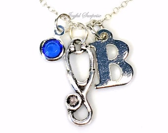 Personalized Stethoscope Necklace, Dr's LPN, RN Nurses Jewelry Veterinarian's Gift Present Silver Pendant initial birthstone Christmas her