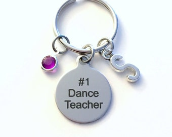 Gift for Dance Teacher Keychain, #1 Key Chain, Coach Keyring Performer Instructor Initial Birthstone birthday present number one her him key