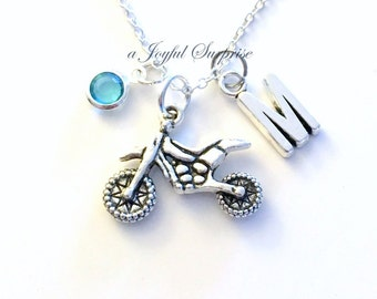 Dirt Bike Necklace, Motorcycle Jewelry Gift for Biker Chick Silver Motorcross charm Initial Birthstone present Short Long Chain Sterling 925