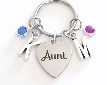 Gift for Aunt Keychain, Auntie Key Chain, From Niece and Nephew Family Keyring, Favorite Special New Birthstone Initial Personalized Jewelry