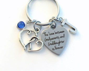 The Love between Godparents and Goddaughter is Forever Keychain, Godfather Godmother Gift Key Chain Niece Birthstone Initial Present Jewelry