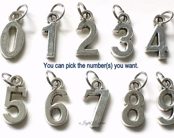 """Add on a number charm 1/2"""" x 1/4"""" Numeric Charm Pendant 1 2 3 4 5 6 7 8 9 10 21 16 40 50 13 19 Sports Jersey number Hockey Baseball Athlete"""
