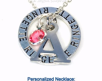 Personalized Ringette Necklace, Teenage Girl's Jewellry, Gift for Teammate Player Silver Circle Charm, letter initial Canadian sellers PEI