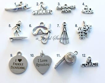 Water Sports Charm Add on to listing single Pendant Silver Swimmers Mom, Go Team Scuba Fin Mask Swimming Swim Surfer Surfing Synchronized