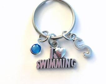 I love Swimming Keychain, Swimmer's Key Chain, Swim Keyring, Charm Letter Initial Present her him women Gift for Synchronized Friend Synchro