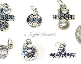 Soccer Charm, Silver Soccer Charm, Your choice Soccer Ball, Soccer Cleats, I love Soccer, #1 Coach, Football Cleat Charm - 1 Silver Charm