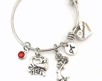 Stainless Steel Cheerleader Bracelet 55mm, Gift for GrandDaughter Cheerleading Jewelry Charm Bangle I love to Cheer Team Silver Teen Girl