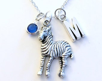 Zebra Necklace, Gift for Zoologist Jewelry Animal Silver charm Initial Birthstone present Short Long Chain Sterling Girl Woman Stripes Large