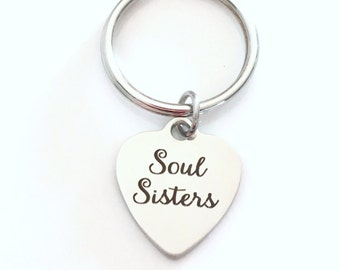 Best Friend Keychain, Soul Sisters Key Chain, Bestie Keyring, Gift for Sister in Law Step Sister Present BFF Stainless steel laser engraved