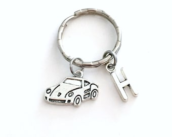 Gift for Salesman Keychain, Race Car Keyring, Sales Consultant Key chain, Initial Letter present women her him men man birthstone automobile