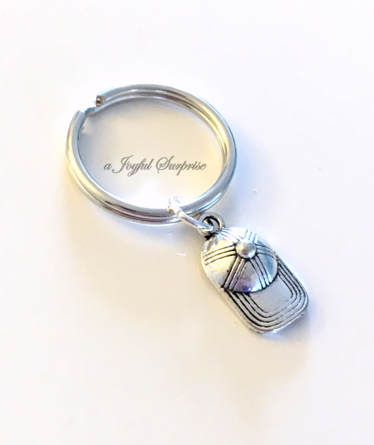 8d039280554a4 Gift for Boyfriend Keychain, Baseball Hat Keyring, Ball Player's Key ...